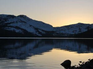 Donner lake in the wintertime in California