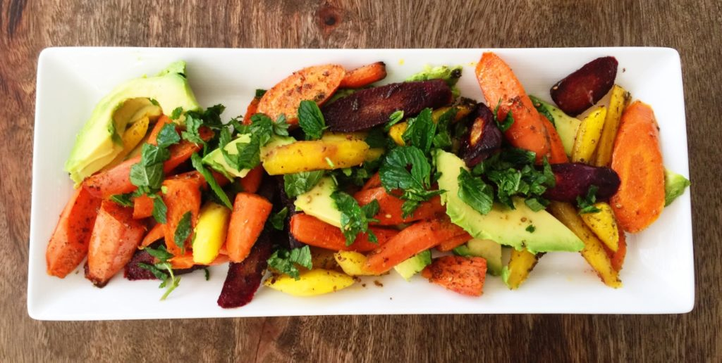 Recipe for roasted carrots with lime, Za'atar, mint and avocado