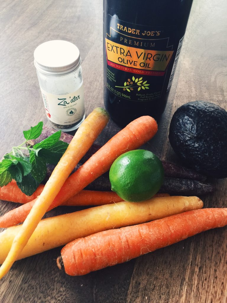 Za'atar, carrots, olive oil, lime and mint