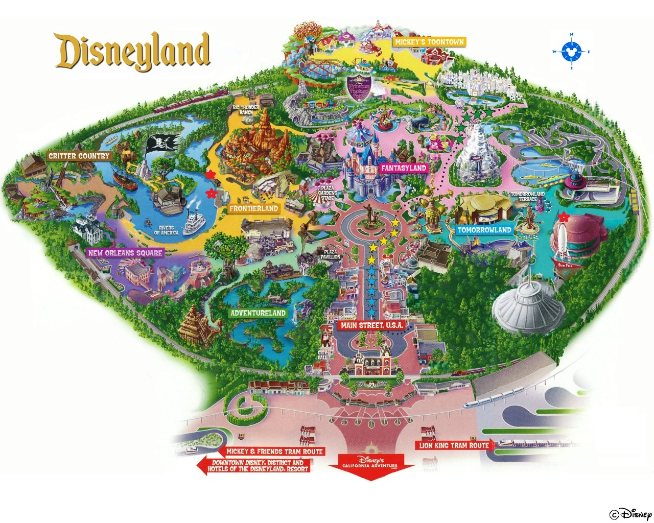 Map of quiet places at Disneyland