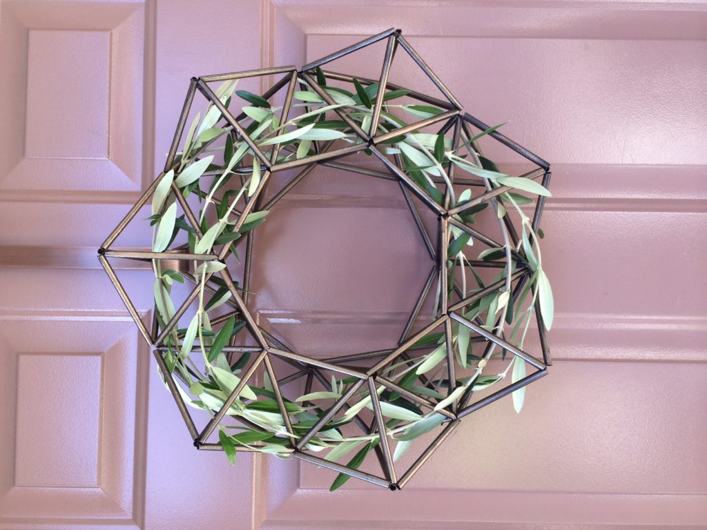 Modern Himmeli wreath DIY with Olive Branches