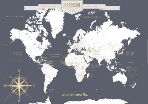 customized map to chart your journeys across the world